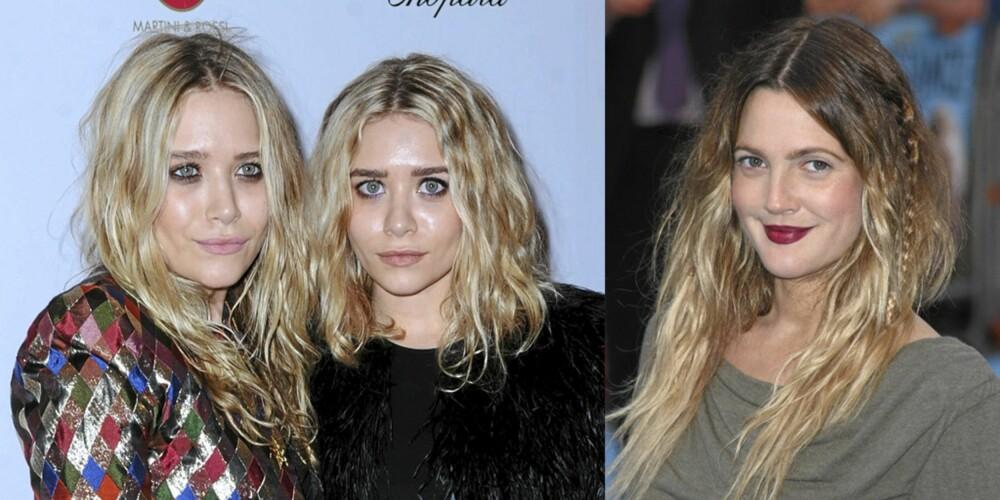 KJENDISRUFS: Både Mary-Kate og Ashley Olsen og Drew Barrymore har omfavnet den rufsete frisyren. Har du litt ettervekst i tillegg, er du ekstra trendy.