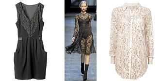 FRA VENSTRE: Kjole fra H&M (kr 499), på catwalken til Dolce & Gabbana, skjorte fra Cubus (kr 299).