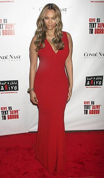 TIMEGLASS: Tyra Banks har en typisk timeglassformet figur med omtrent like brede skuldre som hofter, og en naturlig smal midje.