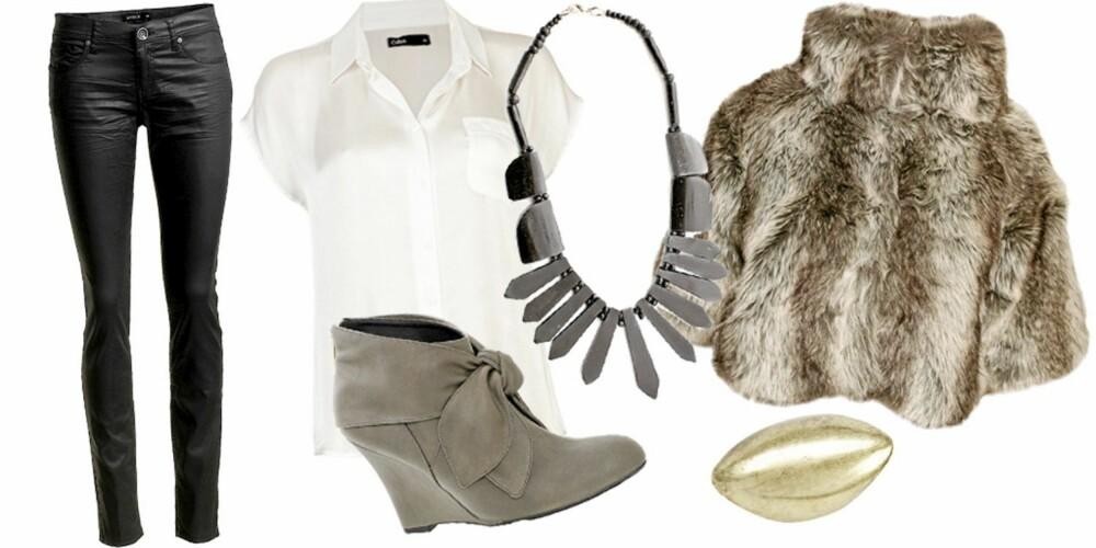 FRA VENSTRE: Bukse fra Lindex (kr 399), skjorte fra Cubus (kr 199), sko fra Rules By Mary (kr 999), kjede fra Blond (kr 279), fuskepelsjakke fra Lipsy (kr 1249), ring fra Bik Bok (kr 49).