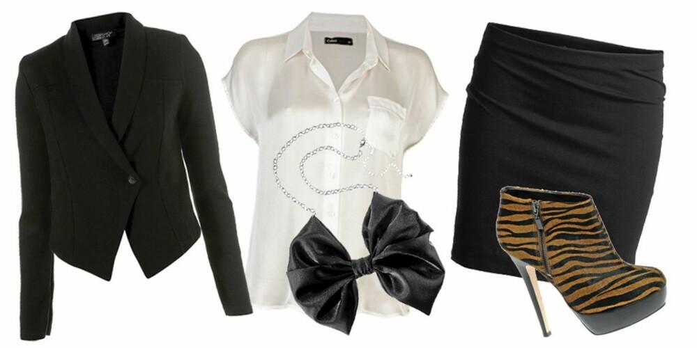 FRA VENSTRE: blazer fra Topshop (kr 506), skjorte fra Cubus (kr 199), kjede fra HogM (kr 49,50), skjørt fra Lindex (kr 99), sko fra Asos (kr 737).