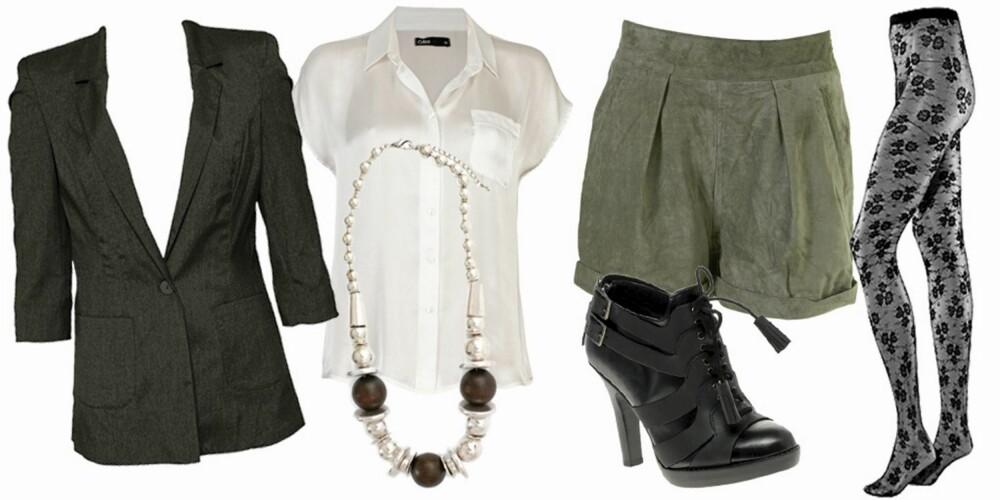 FRA VENSTRE: Blazer fa Vero Moda (kr 399), skjorte fra Cubus (kr 199), kjede fra Nelly (kr 99), shorts fra Topshop (kr 599), sko fra Diesel (kr 2580), strømpebukse fra HogM (kr 79,50).