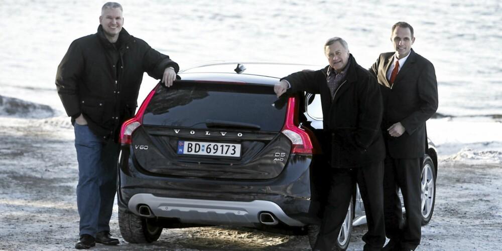 Fra venstre: Marketingsjef Steffen Bang, salg og informasjonsdirektør Tore Løvig og marketingsdirektør Marius Hayler i Volvo personbiler Norge A/S.