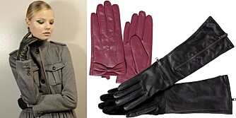 FRA VENSTRE: Backstage hos Max Mara, rosa hansker fra Gina tricot (kr 249), lange, svarte hansker fra Gestuz (kr 899).