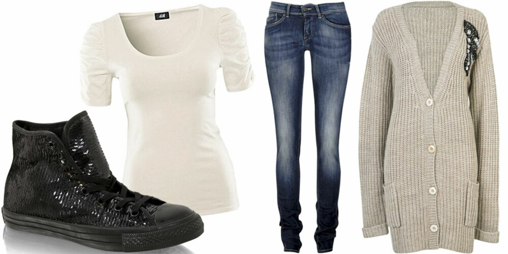 SØNDAG: Avslappende dag med jeans, hvit t-skjorte, lang strikkejakke og lave sko.