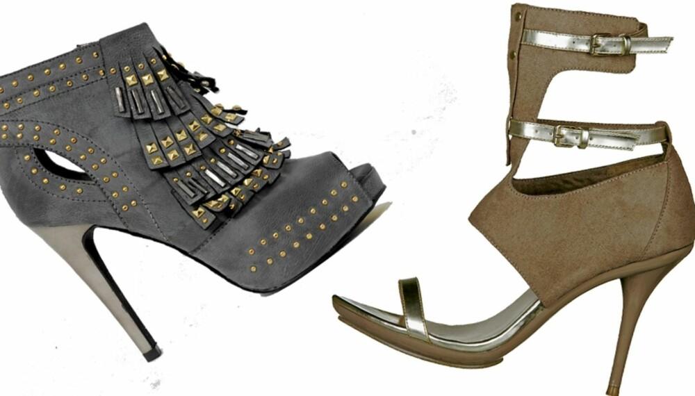 FRA VENSTRE: Peeptoe med høye heler fra Bianco (kr 700), sko med remmer fra Din Sko (kr 499)