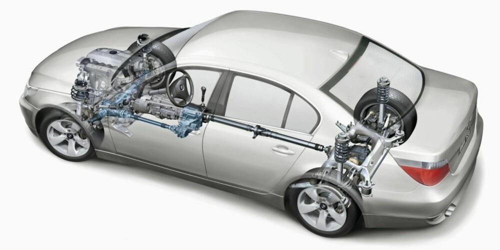 BMW 5-SERIE: X-Drive er BMWs firehjulstrekksystem, og fungerer også ved hjelp av å overføre krefter dit det trengs - med hovedvekt på bakakselen.