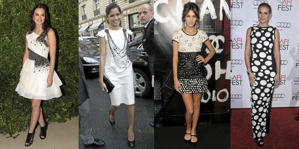SORT OG HVITT: Leighton Meester, Freida Pinto, Alexa Chung og Heidi Klum er vakre i sort og hvitt.