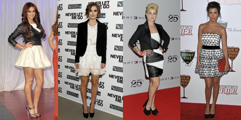 SORT OG HVITT: Cheryl Cole, Keira Knightley, Kelly OSbourne og Kourtney Kardashian.