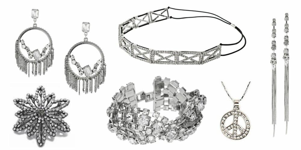 FRA VENSTRE: Øredobber fra Oasis (kr 165), hårbånd fra Asos (kr 291), brosje fra Accessorize (kr 130), armbånd fra Oasis (kr 165), peace-smykke fra Lex Fashion (kr 149) og øredobber fra Lipsy (kr 83).
