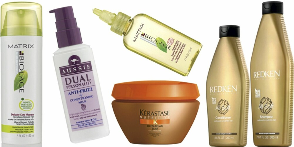 FRA VENSTRE: Matrix Biolage Delicate Care Mask (kr 218), Aussie Anti-frizz Conditioning Milk (kr 95),  Kérastase Nutritive Olé-Relax (kr 230), Matrix Biolage Delicate Care Organic Oil (kr 218), Redken All Soft Conditioner (kr 280), Redken All Soft Shampoo (kr 268).