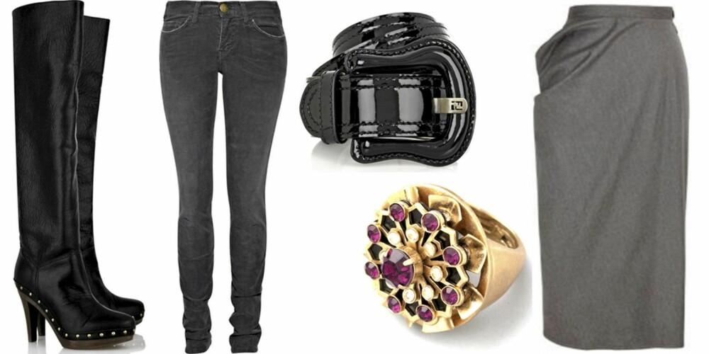FRA VENSTRE: Boots fra Stella McCartney (kr 2930), jeans fra Current/Elliott (kr 1400), belte fra Fendi (kr 1760), ring fra Juicy Couture (kr 360), skjørt fra Vivienne Westwood Anglomania (kr 1100).