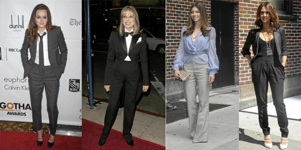 STILFULLE: Både Leighton Meester, Diane Keaton, Jessica Biel og Jessica Alba bruker dressbukser når de skal pynte seg.