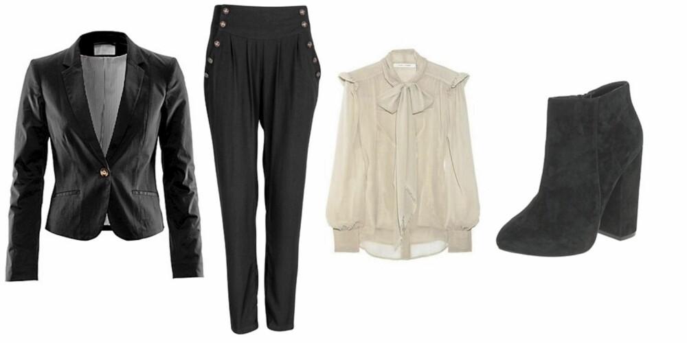 FRA VENSTRE: Blazer fra HogM (kr 399), Dressbukse fra Bik Bok (kr 299), Bluse fra Marc Jacobs (kr 1500), Sko fra asos (kr 730)