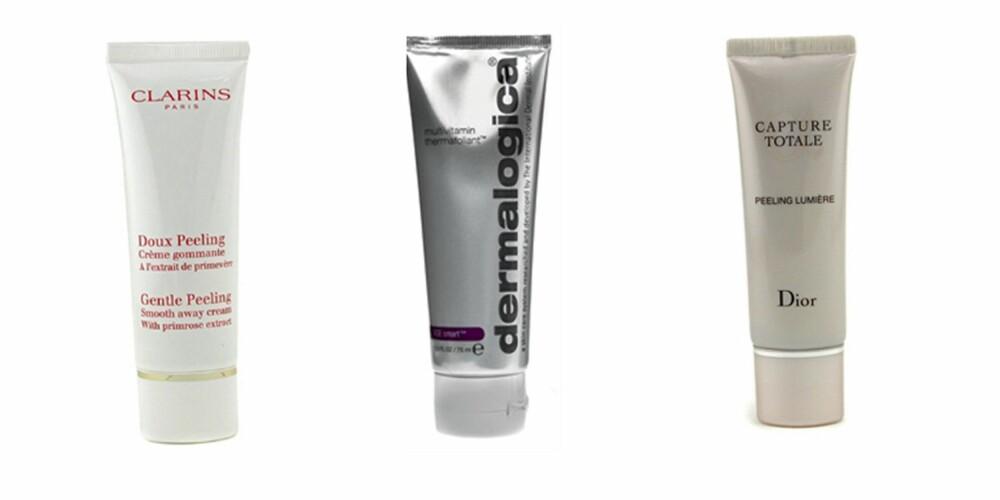 FRA VENSTRE: Clarins Gentle Peeling Smooth Away Cream (kr 201), Dermalogica Multivitamin Thermafoliant (kr 449), Christian Dior Capture Totale Peelien Lumière (kr 496).