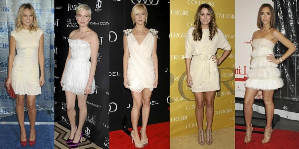 VELGER HVITT: Malin Akerman, Michelle Williams, Brittany Snow, Lauren Conrad og Jessica Alba satser på hvite kjoler.