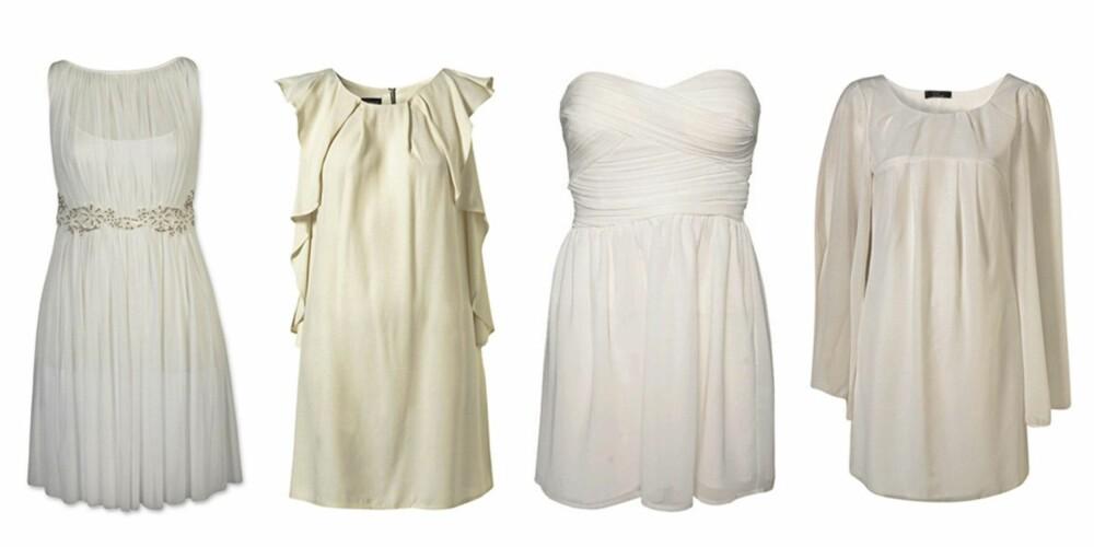 FRA VENSTRE: Kjole fra Bik Bok (kr 399), kjole fra Topshop ( kr 465), kjole fra Rare Fashion/Nelly.com (kr 499) og kjole med lange ermer fra Topshop (kr 325).