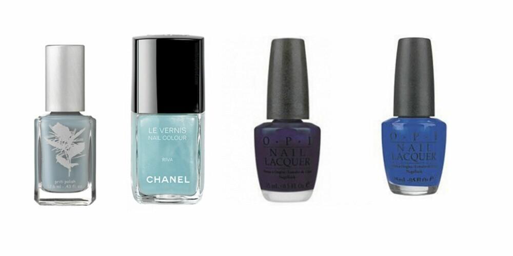 BLÅ: NYC  Forget me not (kr 70), Chanel Riva (kr 210), O.P.I Marineblå (kr 139), O.P.I (kr 139)