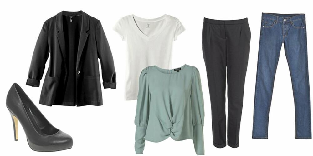 FRA VENSTRE: Pumps fra Asos (kr 249), blazer fra HogM kr 199), t-skjorte fra HogM (kr 69,50), bluse fra Topshop (kr 346), dressbukse fra Topshop (kr 500) og jeans fra Cheap Monday (kr 400).