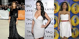 JUKSER: Både Eva Mendes, Kim Kardashian og Salma Hayek bruker juksetips for å se slanke ut.