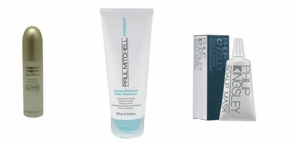 FRA VENSTRE: Umberto Giannini Detoxifying Shampoo  (kr 70), Paul Mitchell Instant Moisture Daily Treatment (kr 98), Philip Kingsley Scalp Mask (kr 40)