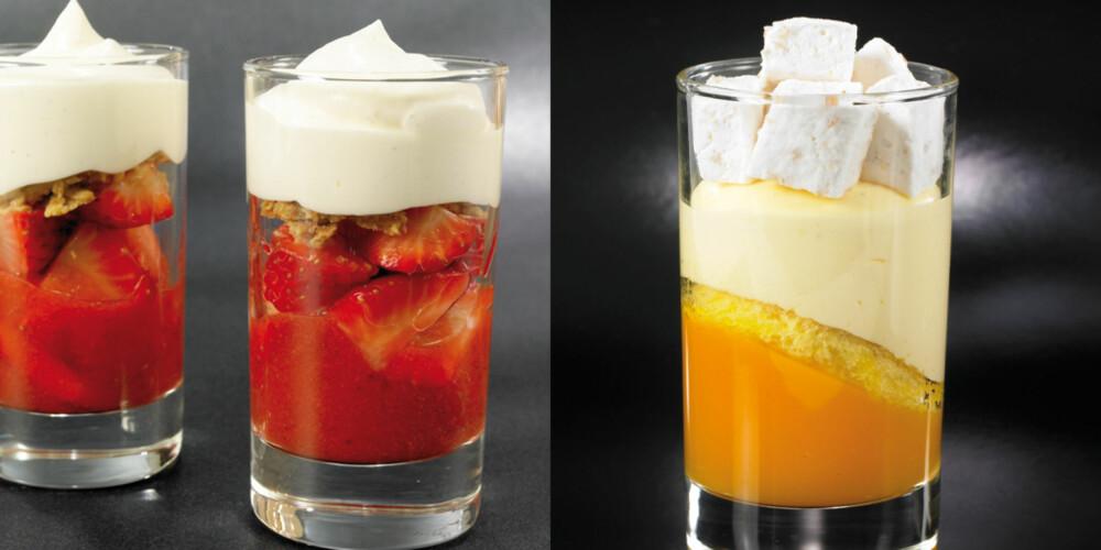 I GLASS: Jordbær med pastis og mousse av hvit sjokolade (venstre) og tindvedgele med vaniljebavaroise og kokosmarsmallows (høyre).