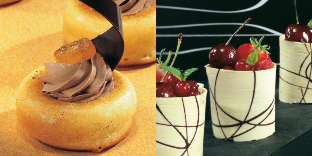SMÅTT, SMAKFULLT OG SUVERENT: Savarin dynket i plommelake med sjokolade- og krydderkrem (venstre), og hvit sjokoladepose med bringebærmousse og friske bær.