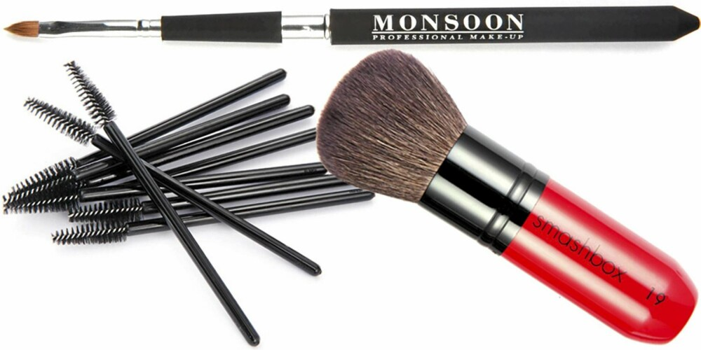 FRA TOPPEN: Monsoon makeup leppepensel (kr 240), Visage Makeup Store engangskoster (kr 150 for 10 stk.), Smashbox  Face og Body Brush nr. 19 (kr 560).