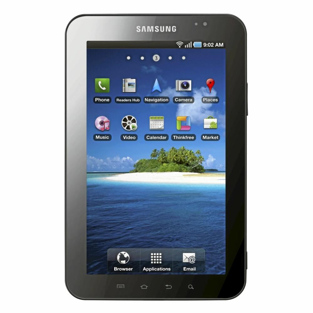7 TOMMER: Samsung Galaxy Tab er en skjerm som er 2,7 tommer mindre enn iPad. Det gjør den cirka halvparten så stor som iPad. I tillegg veier den ca. 300 gram mindre.