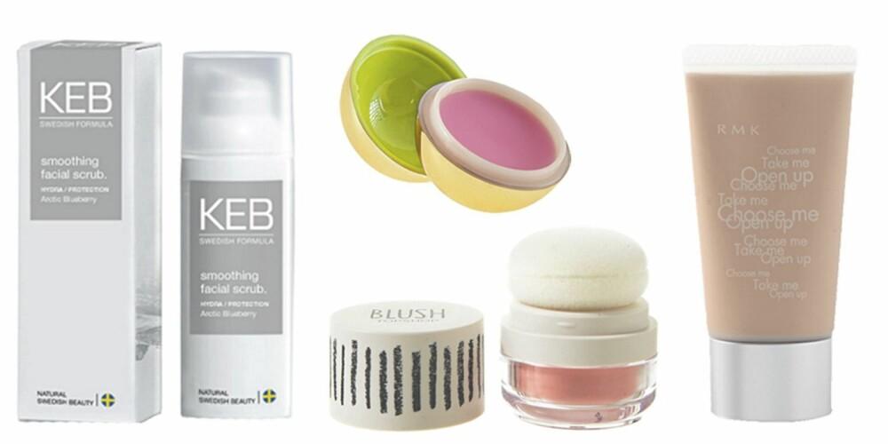 FRA VENSTRE: KEB Smoothing Facial Scrub (kr 335), HogM Lip Shine (kr 29,50), Topshop Blush (kr 75), RMK Creamy Polished Base (kr 216).