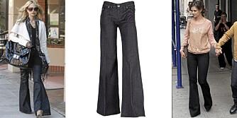 SLENGBUKSE: Rachel Zoe og Katie Holmes bruker ofte buske med sleng. Jeans med sleng fra Hudson.