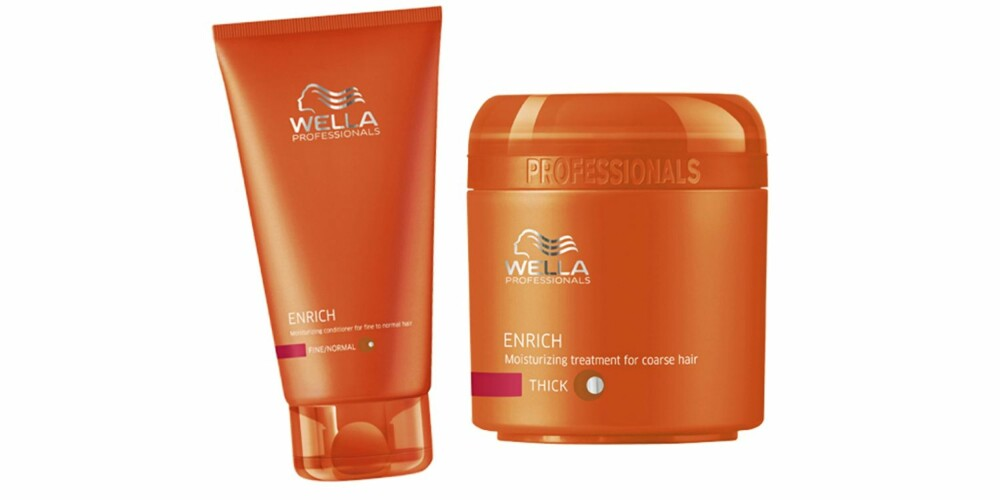 SUPRE HJELPERE: Wella Enrich Conditioner (kr 199), Wella Enrich Mask (kr 225)