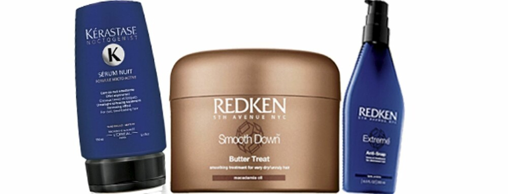 FRA VENSTRE: Kérastase Sérum Nuit (kr 355) Redken Smooth Down Butter Treat (kr 414), Redken Extreme Anti-Snap (kr 461)