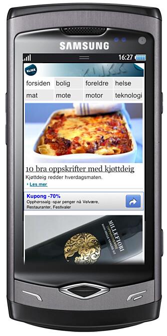 Mobilutgaven av Klikk.no på Samsung Wave