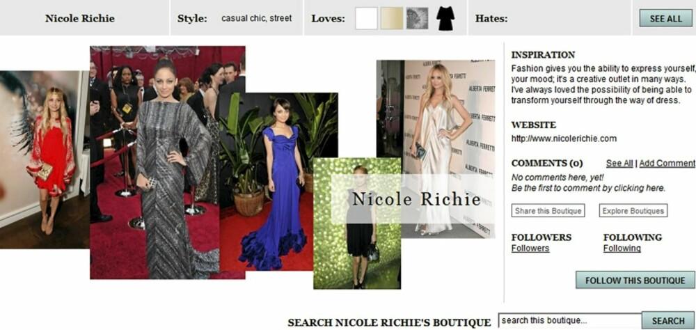STJEL STILEN: Nicole Richie er blant kjendisene som har plukket ut sine favoritter i en egen nettbutikk.