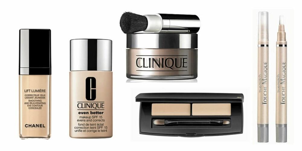FRA VENSTRE: Chanel Lift Lumiere Foundation (kr 455), Clinique Even Better foundation (kr 275), Clinique Blended Face Powder (kr 240), Lancôme La Touche Pro concealer (kr 400) og L'Oreal Touche Magique concealer (kr 119).