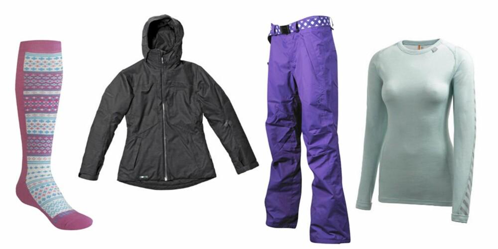 FRA VENSTRE: Sokker fra Kari Traa (kr 169), jakke fra Helly Hansen (kr 2999), bukse fra O'Neill (kr 899) og fleeceundertøy fra Helly Hansen (kr 399)
