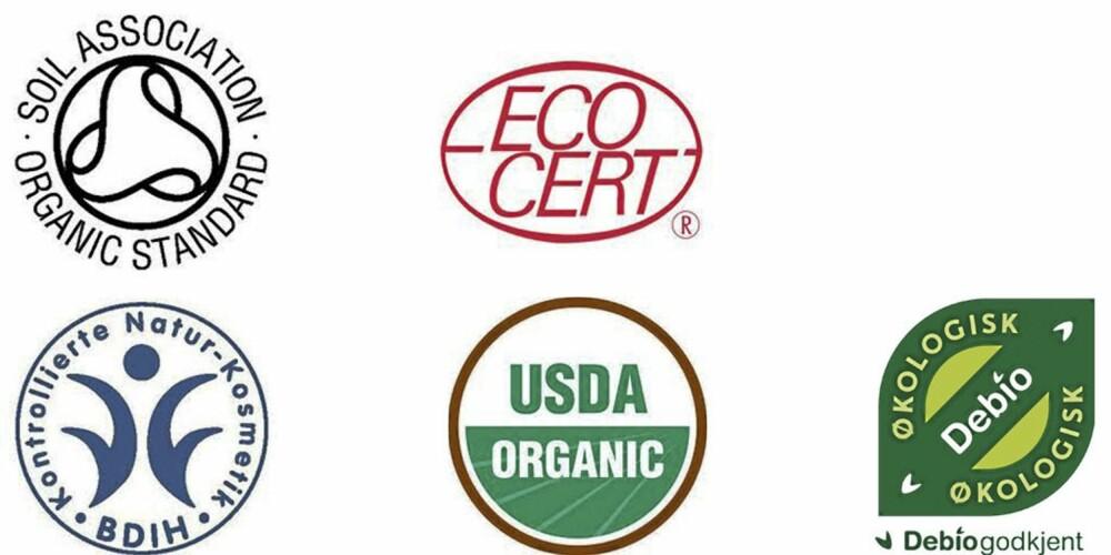 SERTIFIKATER: Her er noen av de mest vanlige økologiske sertifikatene: Britiske Soil Association, tyske BDIH, franske Ecocert, amerikanske USDA Organic og norske Debio.