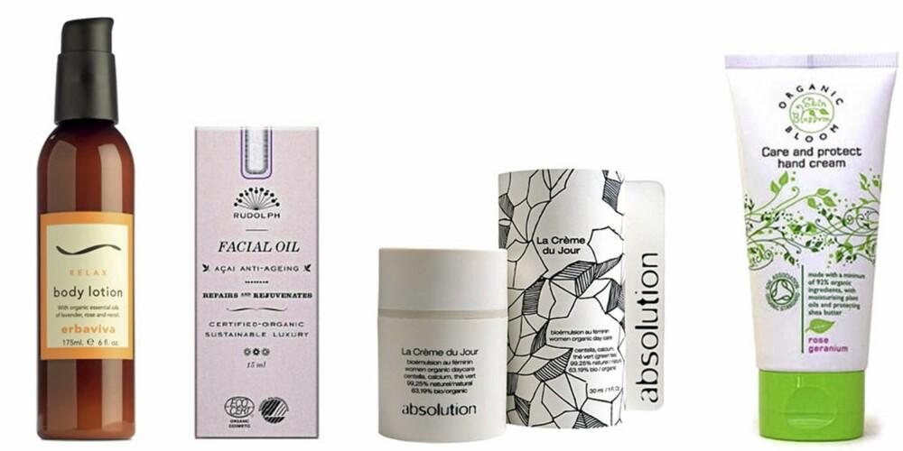 GARANTERT ØKOLOGISK: Erbaviva Relax Body Lotion (kr 175), Rudolph Care Anti-Aging Facial Oil (kr 550), Absolution La crème du Jour (kr 560), Skinblossom Hand Cream (kr 145).