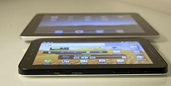 TAB: Galaxy Tab er omtrent halvparten så stor som iPad. Det  gjør det noe lettere å ta den med ut på tur - uten sekk.