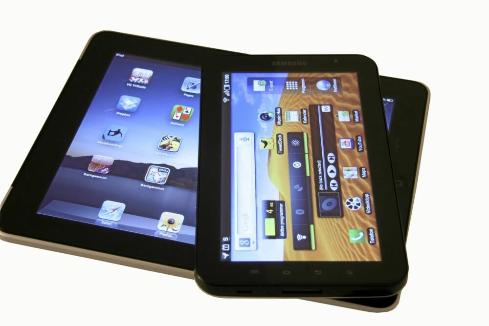 STOR: iPad er har 9,8 tommers skjerm, mens Galaxy Tab har 7 tommer.