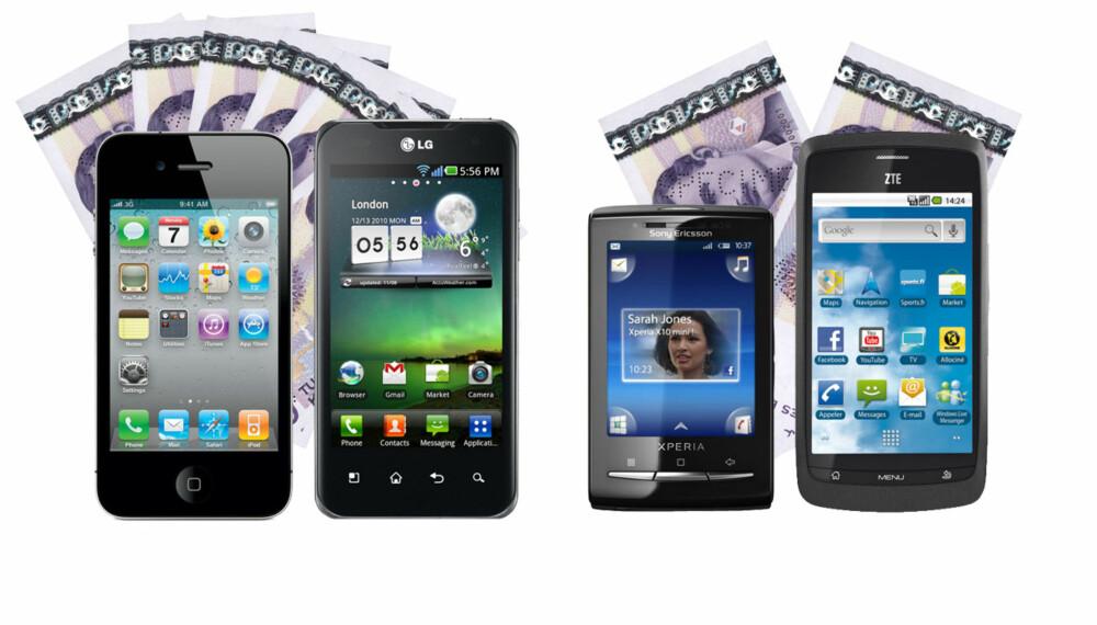 DYR ELLER BILLIG: Hvor mange tusenlapper trenger du egentlig å bruke på en ny mobil?
