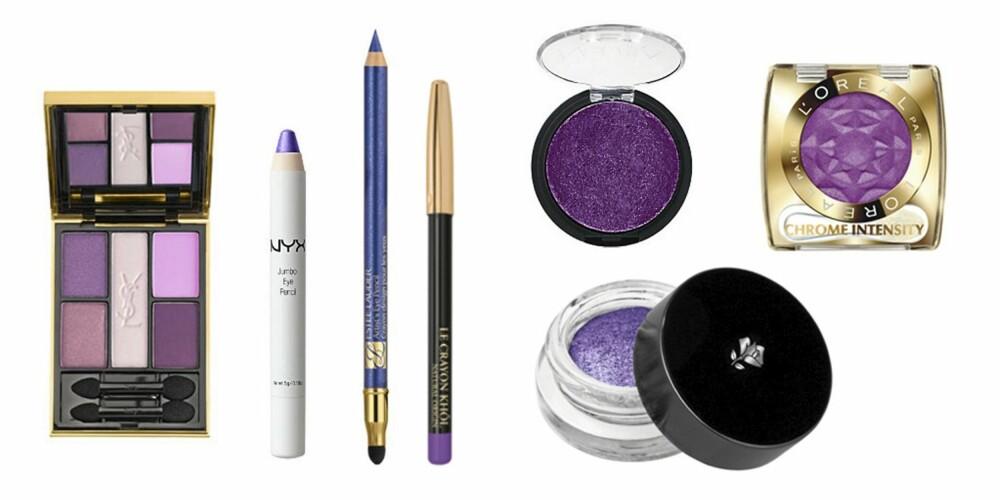 FRA VESNTRE: Øyenskyggepalett fra YSL i Indian Pink (kr 470), kremskyggeblyant fra NYX i Purple (kr 99), kajal fra Estée Lauder i (kr 195), kajal fra Lancôme i Ultra Lavande ( kr 125), øyenskygge fra Nouba (kr 199) og kremskygge fra Lancôme i fargen Ultra Lavande (kr 270) og øyenskygge fra L'Oréal Paris i Purple Obsession (kr 99).