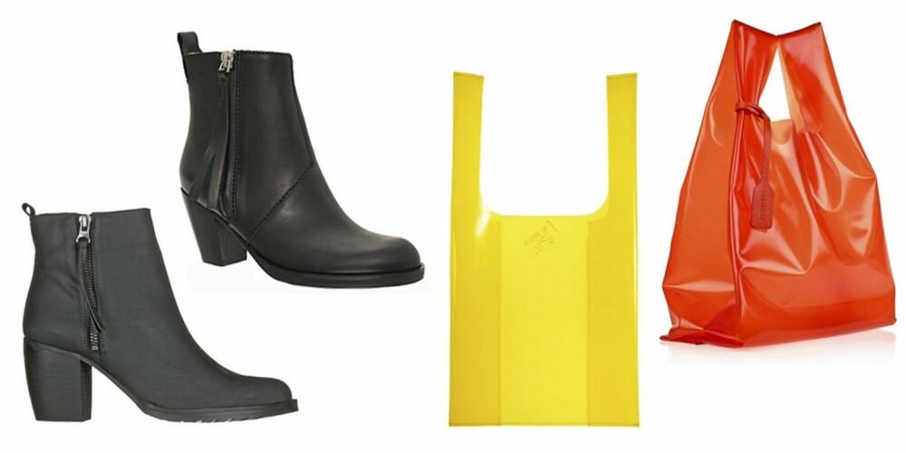 ORIGINALEN OG KOPIEN: De øverste skoene er Acne Pistol Boots fra Acne (kr 2995), mens Nilson er en av mange som har kopiert den (kr 1299). Den orange vesken kommer fra Jil Sander (ca kr 800) og den gule kopien er fra HM (kr 99).