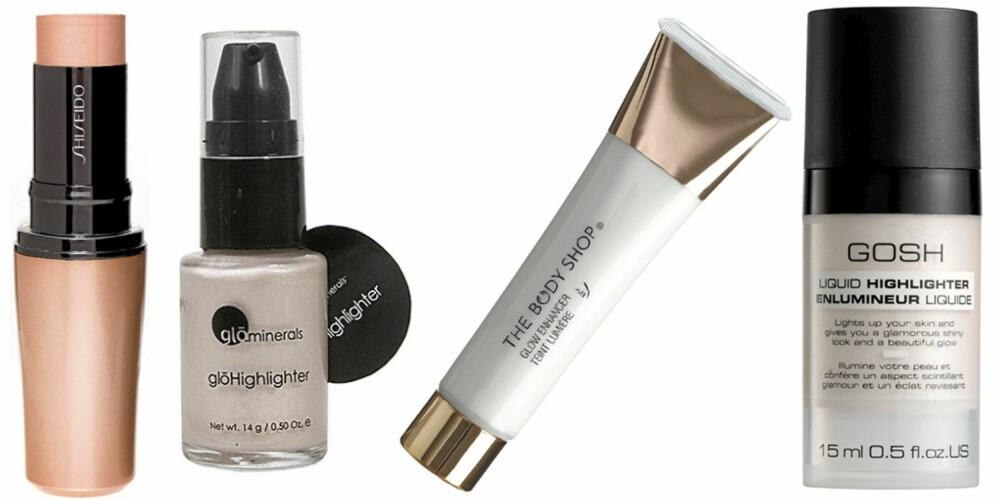 SKIMMER: Shiseido Accentuating Color Stick Nr. S3 (kr 310), Glo Minerals Highlighter (kr 239), The Body Shop Glow Enhancer (kr 159), Gosh Liquid Highlighter (kr 89).