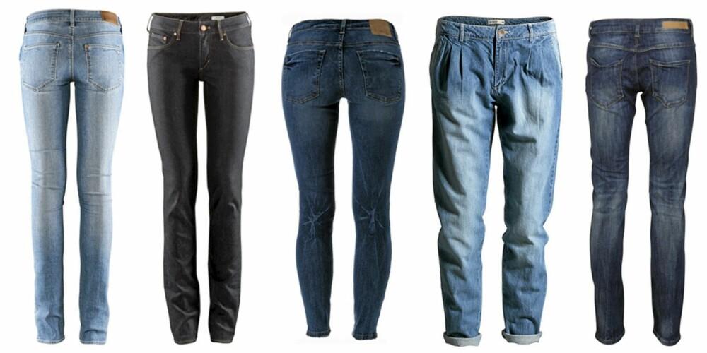 FRA VENSTRE; H&M (kr 399), H&M (kr 399), Gina Tricot (kr 499), Lindex (kr 399) og Vila (kr 500).