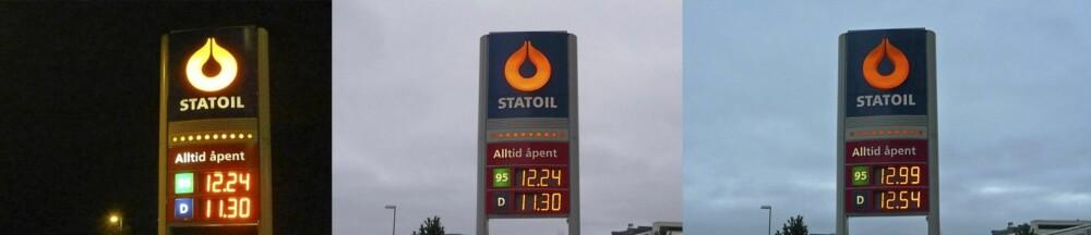 Fra venstre: Statoil søndag 19.00, mandag 09.00 og 15.00.