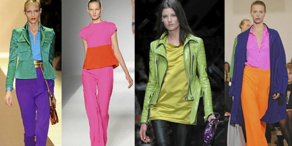 FARGELEK: Sterke farger i utallige kombinasjoner ble sett på visningen til mange av de store designerne. Her fra Gucci, Sportmax, Burberry Prorsum og Jil Sander.