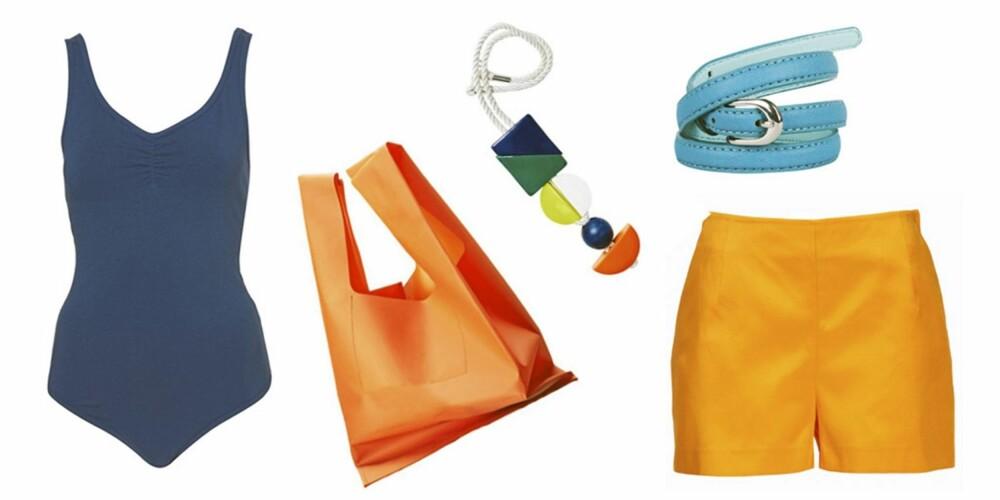FRA VENSTRE: Body fra Topshop (kr 106), oransje veske (kr199) og fargerikt smykke (kr 199) begge fra HM. Blått belte (kr 49), Bik Bok, og gul shorts fra Gina Tricot (kr299).