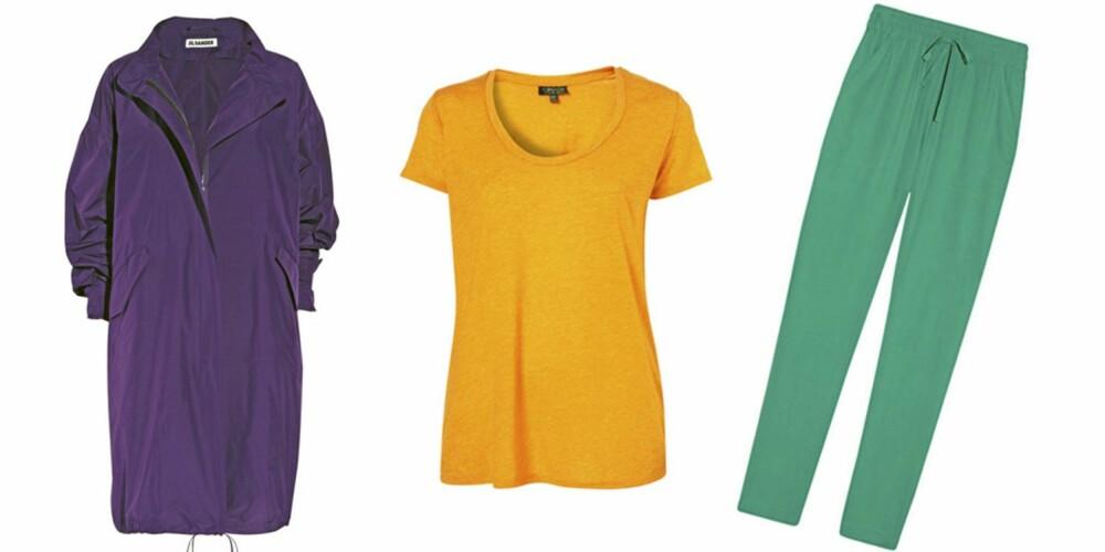 FRA VENSTRE: Jakke (kr 13 205) fra Jil Sander, t-skjorte (kr 106) fra Topshop, bukse (kr 1954) fra DKNY.